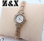 Damenmode Freizeitrhinestone-Quarz-Armbanduhr