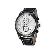 Men's Calendar Disc Leather Strap Quartz Watch