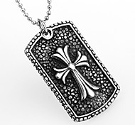 European Style Cross Shape Titanium Steel Wholesales Hot Sales Cross Pendant For Men(Silver)(1Pc)