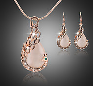 Lucky Doll Women's All Matching Crystal Rose Gold Plated Zirconia Peacock Necklace & Earrings Jewelry Sets