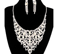 Fashion Long Drop Fully Rhinestone Silver Copper Jewelry Set 17