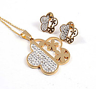 Fashion Flower Shape CZ Diamonds Inlaid 316L Stainless Steel Gold Plated (Necklace&Earrings) Jewelry Sets