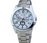 estilo de negócio de quartzo liga de prata relógio de pulso dos homens