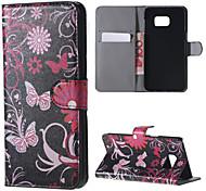 dansende vlinder pu leer koffer met standaard voor Samsung Galaxy Note 5 / note 5 edge / note 4 / note 3 / noot 2