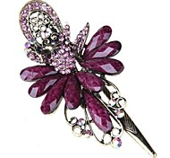 Peacock Metal Resin Rhinestone Purple Hair Pin Clip Fashion