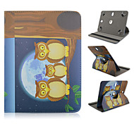 Owl Family Pattern 360 Degree Rotation High Quality PU Leather with Stand Case for 10 Inch Universal Tablet