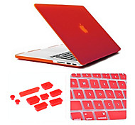 3 in 1 Matte Case with Keyboard Cover and Silicone Dust Plug for Macbook Pro 15.4 inch (Assorted Colors)
