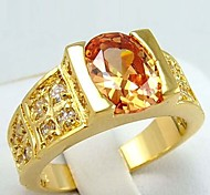 Size 8/10 High Quality Women Orange Sapphire Rings 10KT Yellow Gold Filled Ring