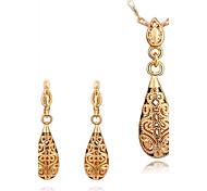 forma de gota moda rosa banhado a ouro conjuntos de jóias de comércio exterior (ouro, ouro rosa, ouro branco) (1set)