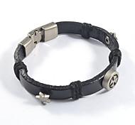 Fashion Black Cross Shape and Star Leather Bracelets 1pc