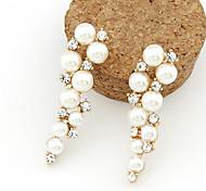 Drop Earrings Pearl Imitation Pearl Rhinestone Simulated Diamond Alloy White Jewelry 2pcs