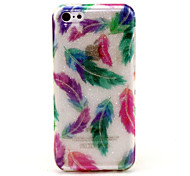 Colored Feathers  Pattern Glitter TPU Cell Phone Soft Shell For iPhone 5C