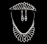Bride's Leaves Shape Rhinestone Crystal Wedding Decorations Jewelry Set Including Necklace,Earrings,Crown