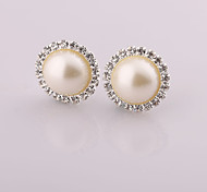 Fashion New Style Circular  Pearl/Rhinestone Earring Clip Earrings Wedding/Party/Daily/Casual 2pcs