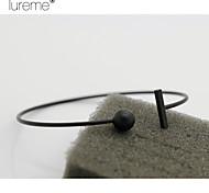 Lureme® Europestyle Brief Glaze Ball Strip-Type Dissymmetry Copper Cuff Bracelet