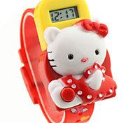 Children's Round Dial Hello Kitty Pattern Rubber Band Electron Watch