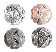 Diy Beads Metal Hollow Out Ball Round Shape Large Hole Beads 10Pcs