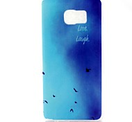 Blue Flying Birds Pattern TPU Soft Back Cover Case for Samsung Galaxy Note 5