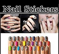 10Set Nail Patch Metal Nail Stickers Strips Nail Art Polish Stickers Nail Wraps 16Pcs/Set 368Colors Choosing