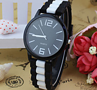 Unisex's Simple Design Rubber Band Quartz Wrist Watch