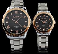 Couple's Fashion Roman Numerals Waterproof Quartz Steel Belt Wrist Watch(Assorted Colors)