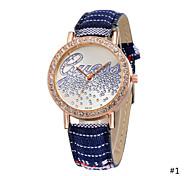 """Woman Exotic Colorful Fabric Band """"Love"""" Quartz Bracelet Wrist Watch Casual Unique Diamond Watch"""