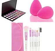 7pcs calientes de la venta / set rosa herramienta de pincel de maquillaje kit suave + 28 colores cara contorno rubor en polvo de