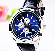 Men's Business Round Dial PC Movement Leather Strap Fashion Life Waterproof Quartz Watch