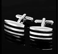 Men's Parallel Stripes Rectangle Black Silver Wedding Shirt Cufflinks