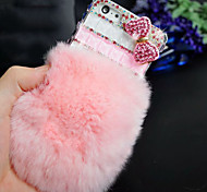 Rabbit Hair With Drill Bow Pattern Rhinestone Hard Back Case for iPhone6 Plus (Assorted Color)