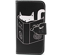 Cat Pattern PU Material  Case for iPhone 4/4S