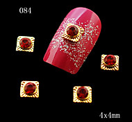 10pcs 3D Nail Art DIY Decoration Alloy Material Square with a Round Rhinestones  Nail Rhinestone & Decoration 4*4mm