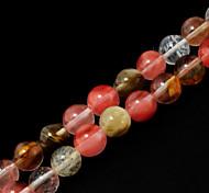 Beadia 39Cm/Str (Approx 48Pcs) Natural Stone Beads 8mm Round Watermelon Pink Quartz Loose Beads DIY Accessories