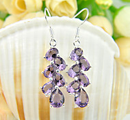 Family Friend Gift Drop Fire Full Amethyst Gem 925 Silver Drop Earrings For Wedding Party Daily Holiday 1Pairs