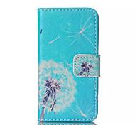 blauen Löwenzahn Muster PU-Leder gemalt Telefonkasten für iphone 4 / 4s
