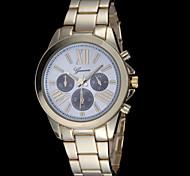moda reloj de cuarzo de Ginebra de las mujeres correa de acero tres ojos clásica