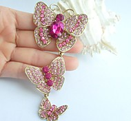 4.53 Inch Gold-tone Pink Rhinestone Crystal Butterfly Brooch Pendant Art Decorations