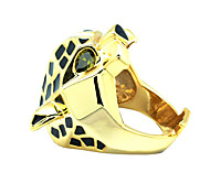 Men Women Gold Leopard Ring with Green Zirconia