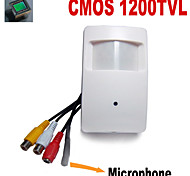 1200TVL COLOR CMOS  Mini Hidden Camera PIR CCTV Security Camera with 3.7mm Pinhole Lens Audio External Microphone