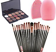 20pcs Makeup Brushes Set Eyeshadow Eyeliner Lip Brush Tool+15Colors Matt Eyeshadow Palette+1PCS Brush Cleaning Tool