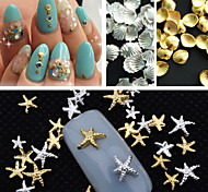150PCS Mixed Size Gold Silver Metal Starfish Shell Rivet Nail Art Decorations