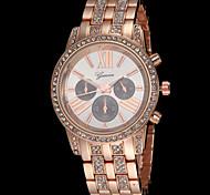 Ginebra de la manera del reloj del cuarzo decoración de cristal de la correa de acero de tres ojos de la mujer