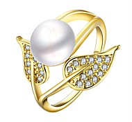 Fashion Big Pearl Leaves Women Golden Pearl Statement Rings(Golden)(1Pcs)