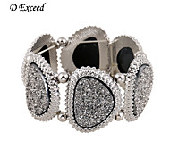 D Exceed  Fashion Design Alloy Plated Sliver Wide Stretch Bangle Bracelet for Women