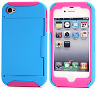 Sports and Outdoors Shockproof TPU+PC Credit Card Holder Wallet Case Cover for iPhone 4/4S  (Assorted Color)