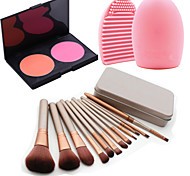 12Pcs Cosmetic Makeup Tool Eyeshadow Blush Foundation Brush Set Box +2Colors Blush Palette+1PCS Brush Cleaning Tool