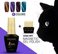 4pcs / lot azuis olhos de gato gel unha polonês gel uv primer da fundação gel unha polonês unhas de gel uv magnética (# 78 + 96 + # # # 97