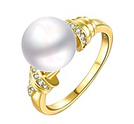 Classic Big White Pearl Women Golden Pearl Statement Rings(Golden)(1Pcs)