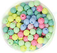 Beadia 100g(Approx 360Pcs)  Fashion 6mm Round Acrylic Beads Mixed Spring Color Plastic Loose Beads DIY Accessories