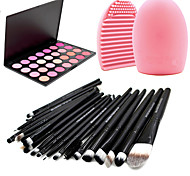 Pro 20pcs Brushes Set Foundation Eyeshadow Eyeliner Lip Brush Tool+28Colors Blush Palette+1PCS Brush Cleaning Tool